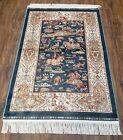 "Royal Blue Silk Rug Hunting Scene Horses Bamboo Silk-on-Silk Carpet 2' 8"" x 4'1"""
