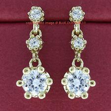 Genuine Real Solid 9k Yellow Gold Drop Huggies Dangle Fine Earrings Lab Diamonds