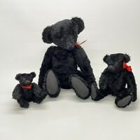 3 Artist Hand Made OOAK Black Mohair Fully Jointed Teddy Bears Tagged Adrian