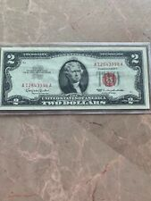1963 A Two Dollar Note Red Seal $2 Bill US CURRENCY OLD MONEY A 01758284A