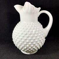 "Vintage Fenton Large White Milk Glass Hobnail Pitcher 70 oz w Ice Lip 9.5"" Tall"