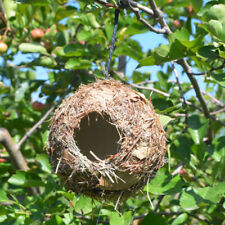 Handmade Birdhouse Bird Nest Breeding Box Wild Grass Canary Finch Home Decor