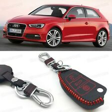 Leather Remote Car Key Cover Case Protector Holder Fob for Audi A3 S3 2011-2017