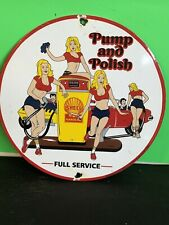 VINTAGE PORCELAIN SHELL PUMP AND POLISH GAS AND OIL SIGN