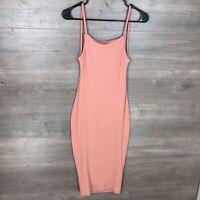 Boohoo Women's Size 4 Ribbed Midi Dress Sleeveless Coral Orange NEW