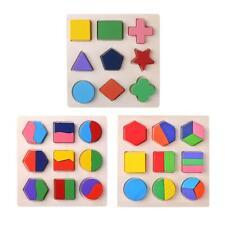Wood Geometric Shapes Sorting Math Montessori Puzzle Kids Educational Toys