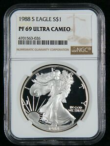 1988-S Silver Eagle S$1 NGC PF 69 Ultra Cameo
