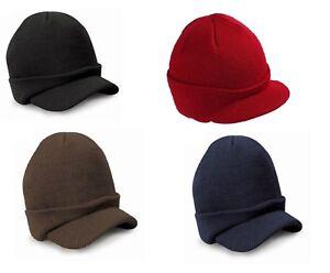 Esco Peaked Army Beanie Hat Warm Wooly Winter Mens/Ladies Cadet Ski Cap 4 colors