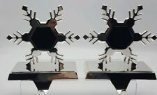 Lot of 2 POTTERY BARN Snowflake Silver Christmas Photo Stocking Holders Hangers