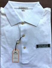 Peter Millar White Green Steele Street Bank & Trust Logo Golf Polo Shirt Size L