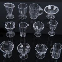 12Pcs/Set Craft Transparent Miniatures Ice Cream Cup Tableware Doll House