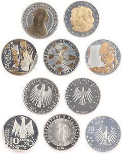 BRD 5 x 10 Euro 2012 - Gedenkmünzen Teilvergoldung - Silber - Stgl. in Kapseln