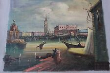 Vintage Antique Signed Venetian Hand Painted Scenic Oil Painting*