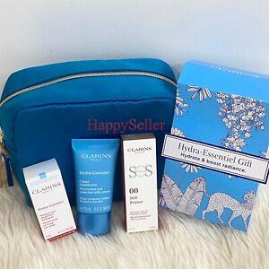 Clarins Hydra-Essentiel Gift Set; Eye Mask, Moisturize Cream, Primer, Pouch Bag