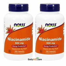 2 x NOW Foods Niacinamide (B-3) 500mg 100 Caps Made