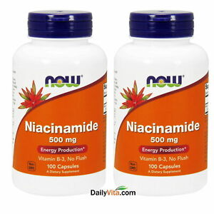 2 x NOW Foods Niacinamide (B-3) 500mg 100 Caps Made In USA FREE SHIPPING