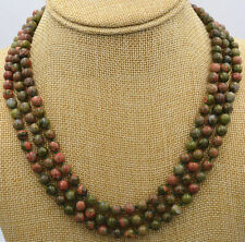 "unakite Ireland Gemstone Necklace 17-19 "" New charming 3 rows 6 mm beads"
