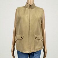Talbots Faux Microsuede Zip Front Vest Jacket MEDIUM Beige Tan Snap Pockets