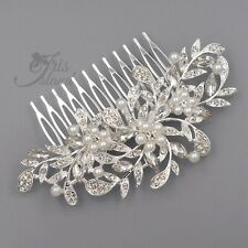 Silver Hair Comb Bridal Pearl Crystal Headpiece Clip Wedding Accessories 09791