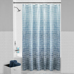 Mainstays Ombre Geo Fabric Shower Curtain 72 x 72 Blue Linen NEW