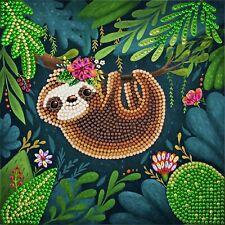 Diamond Painting Kit Cute Sloth Greeting Card 18x18 Cm Crystal Art Craft Buddy