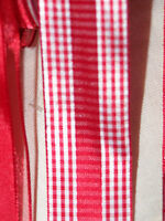 "1m 2m Red Wired Edge Ribbon 3.8cm 1.5"" ribbon polka Dot Hearts Gingham Crisscros"