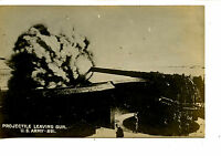 WWI Military Projectile Leaving Long Range Gun-RPPC-Vintage Real Photo Postcard