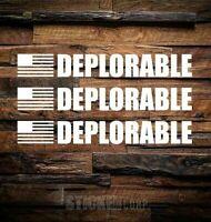"DEPLORABLE CAR 10"" car labtop DECAL Sticker,American Trump military sticker 3 pk"