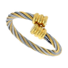 Stainless Steel 2-Tone Rope Design Adjustable Cable Ring (Sizes 8-9)