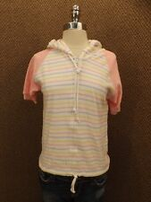 NEW Vtg 80s Pastel Stripes Pink Terry Cloth Hooded Zip Down Raglan Summer Top L