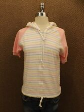 NEW Vtg 80s Pastel Stripes Pink Terry Cloth Hooded Zip Down Raglan Summer Top S