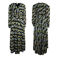 Womens Ladies V Neck Belted Summer Floral Print Wrap Front Long Puff Maxi Dress