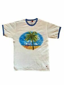 NEW TOMMY HILFIGER WHITE PALM TREE SUMMER T SHIRT FREE DELIVERY - SIZE MEDIUM