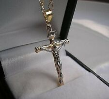 9CT GOLD FILLED CROSS CRUCIFIX ON CHAIN from 9ct-gold-bling 90