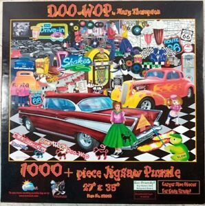 DOO-WOP 1950s Route 66 Poodle Skirt Hot Rods 1000 Pc Jigsaw Puzzle Mary Thompson
