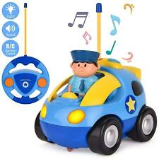 4'' R/C Blue Remote Control Cartoon Police Car Baby Toddler Kids Toy Safe Fun NW