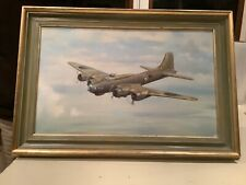 """G E Lea Original Oil Painting  Of """"B 17"""" Flying Fortress Bomber Command"""
