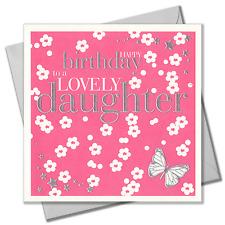 Embossed Lovely Daughter Happy Birthday Greeting Card Flower Girl Pink Luxury UK