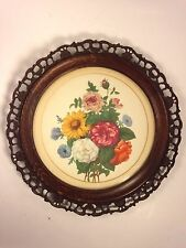 Antique Print of Floral Watercolor Painting in Round Carved Wood Frame