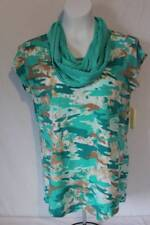 NEW Womens Blouse w Infinity Scarf Shirt Size Large Green Camo Split Back Top