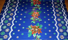 CHRISTMAS Blue Snow Flake Xmas Oilcloth Dinner Table Fabric Material Poinsettia