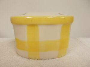 Vintage ELPA Portugal White & Yellow Plaid Porcelain Bathroom Toothbrush Holder