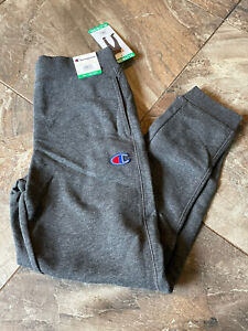 NWT Champion Solid Charcoal Grey Unisex Kids Joggers 18/20 XL Logo Pockets
