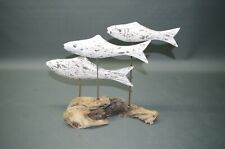 Wurzelholz Dekoration Fische Holz Statue Bad Deko nautisch Maritim 35 cm 3D