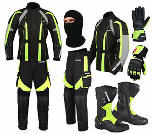 Waterproof Motorbike Suit Motorcycle Set Jacket Trouser Gloves Boots - Green