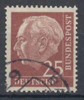 "BRD/Bund - Nr. 186y gestempelt/o, geprüft ""Schlegel, BPP"" (25 Pf. Heuss lumogen)"