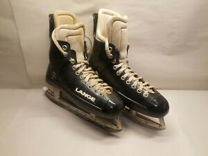 Vintage Lange Plastic Tube Hockey Skates Size US 9 Mens Made in England / Canada
