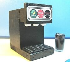 Dollhouse Miniature Size 3-Flavor Soda Fountain Machine with Filled Glass Lb299