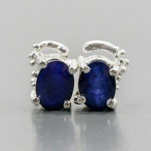 Fine Art Blue Sapphire Earrings Silver 925 Sterling   /E52049