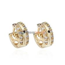 18K Gold Plated Hoop Earring Womens Fashion Sparkle Stone Crystal Earrings 1Pair